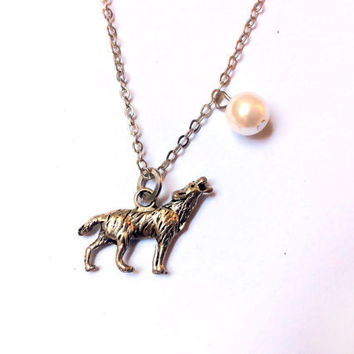 Howling Wolf in Full Moon necklace, wild dog charm and faux pearl bead