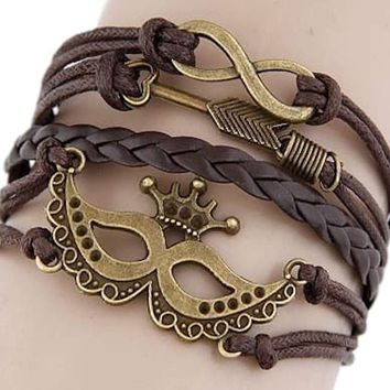 Multi 5 Layer Infinity, Arrow, Mask Crown Charms Wrap Bracelet Faux Brown Leather/Suede