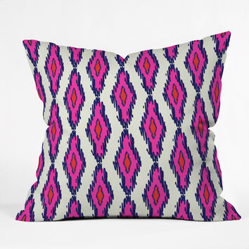 Holli Zollinger Ikat Pink And Navy Throw Pillow