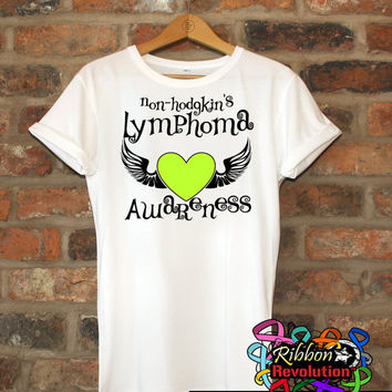 Non-Hodgkins Lymphoma Awareness Heart Tattoo Wing Shirts