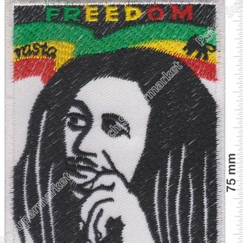 "3.5"" BOB MARLEY Freedom Reggae ska Jamaica Embroidered Iron On Patch pot leaf Hat jacket Vest music band rock punk badge"