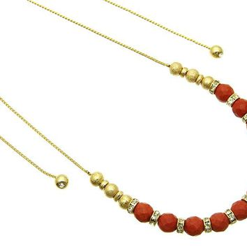 Coral Red Faceted Natural Stone Bead Adjustable Necklace