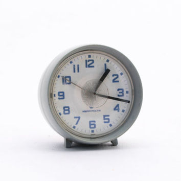 Vintage grey alarm clock made in Poland 70s
