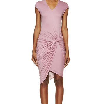 Helmut Lang Pink Slack Jersey Twist-waist Dress
