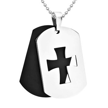 2 Tone Cross Dog Tag Pendant Black Stainless Steel Necklace Ball Chain