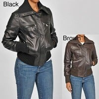 Knoles  Carter Women's Plus Size Leather Chunky Knit Bomber Jacket