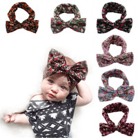 Toddler Floral Bow Hairband Large Knot Headband 2016 Flower Baby Headbows Infant Bohemian Turban Fashion Girls Hair Accessories