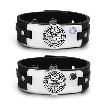 Secret Seal of Solomon Amulets Love Couples Blue Simulated Cats Eye Simulated Onyx Bracelets