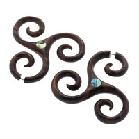 Spiral Wood & Abalone Pin Plugs (Regular Piercing) #7666