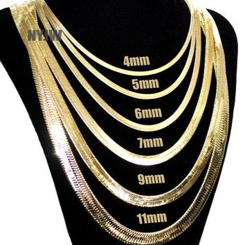 LMFA8C Mens Herringbone Yellow 14k Gold Plated 4 to14mm wide 20' 24' 30' Chain Necklace