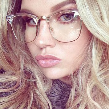 Half Frame Clear Glasses Myopia Clear Frame Glasses Women Men Spectacle Frame Gold Clear Lens Optical Glass Lunette