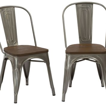 Industrial Antique Gun Metal Rustic Distress Dining Cafe Side Chairs, Set of 2