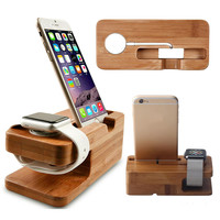 Wood Bamboo Charging Dock Station Charger Stand Holder For Apple Watch 38mm 42mm& iPhone 7 7 Plus 6 6s Plus Free Shipping