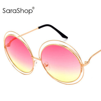 Women Oversize Round wire Sunglasses designer Sun glasses Shades A308