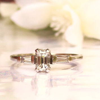 Vintage Emerald Cut Diamond Engagement Ring 0.48ctw Diamond Wedding Ring 14K White Gold Baguette Fancy Cut Diamond Ring Size 7!