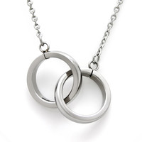 "Infinity Interlocking Circle Necklace, Interlocking Bands ""To Infinity and Beyond"" Engraved inside, Unisex Two Rings Pendant"