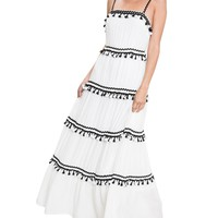 Tiered Tassel Sleeveless Maxi Dress