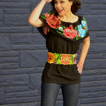 a66d4f12cbc Mexican Off Shoulder Peasant Top Blouse  Tunic Embroidered Multicolor  Flowers (GV Gloria Vidal)