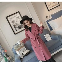 2018 spring and autumn Women's Long Windbreaker Double Breasted Overcoat Slim Trench Belted Coat