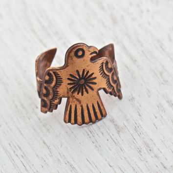 Vintage Copper Bird Ring - Retro Southwestern Boho Native American Design Adjustable Costume Jewelry / Tribal Arrow