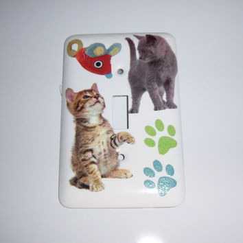 Kitties and mouse steel single light switch cover
