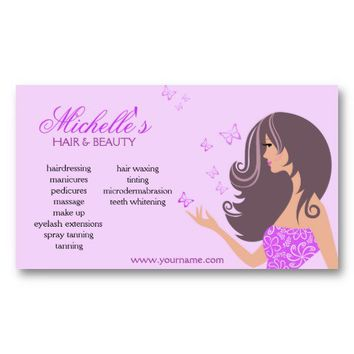 Girl Butterflies, Beauty salon business card from Zazzle.com