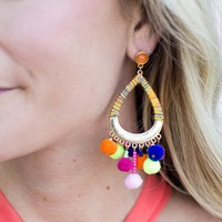 Wrapped Hoop + Pom Pom Earrings