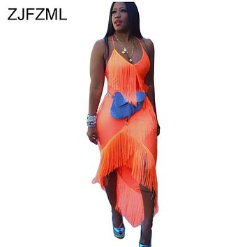 Tassels Spliced Bandage Dress Women Spaghetti Strap Backless Beach Dress Summer  Fluorescent Orange Front Short Back Long Dress