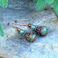 Green beaded earrings - mossy faceted glass & copper