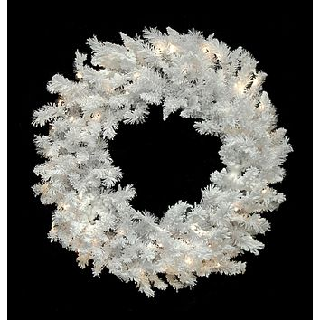 "60"" Pre-Lit LED Flocked White Spruce Christmas Wreath - Warm Clear Lights"
