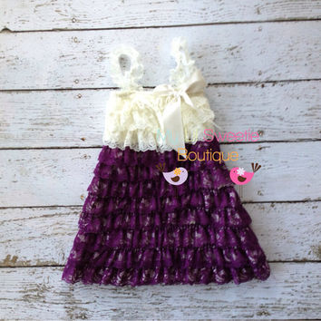 Plum / Eggplant dark purple and ivory  Vintage Lace dress- newborn outfit- infant outfit- flower girl- wedding, special occasion dress