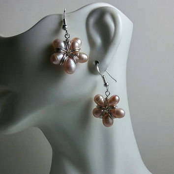 Pearl Flower Earrings in Sterling Silver, Mauve Freshwater Pearl Earrings, Natural, Organic, Unique, Gift for Her, Gift for Women, Wife Gift