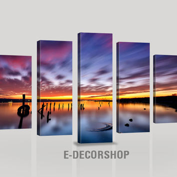 LARGE CANVAS Wall Art - Purple Sky at Sunset on Sea - Night City Landscape Art Wall Canvas - Large Size Wall Art Canvas