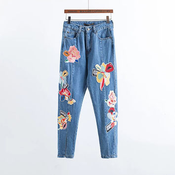 Light Blue Flower Embroidered Patch Jeans