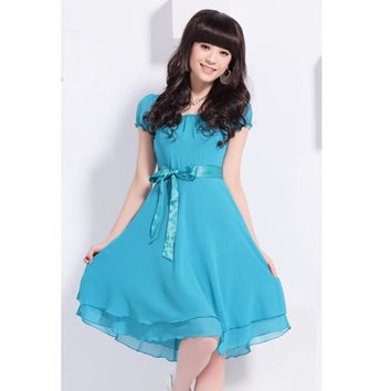 Sky Blue Short Sleeve Chiffon Dress
