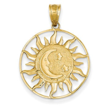 14k Polished Sun with Moon & Star Charm M475
