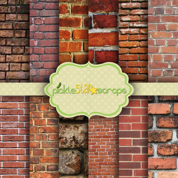 ON SALE Craft Papers 12x12 Brick Papers Brick Printable Brick Backgrounds Brick Wall Texture Brick Wall Papers Brick Texture INSTANTDown