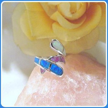 """Peaceful"" Trio Fire Opal Sterling Silver Ring"