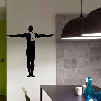 Man Yoga Pose Gym Yin Yang Pattern Fitness Sport People Wall Decal Vinyl Sticker Wall Decor Home Interior Design Art Murals M779