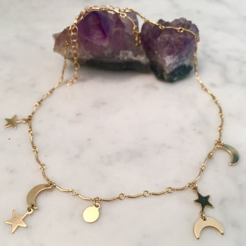 MOON, SUN, & STARS, charm necklace, circle necklace, moon and stars necklace, gold filled chain, star choker, gifts for her, valentines gift