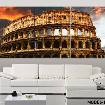 LARGE Wall Art The Coliseum Canvas Print - Colosseum Stretched Canvas Art Print - Ready to Hang - 3 Panel Canvas Italy Coliseum Art Canvas Painting - MC105