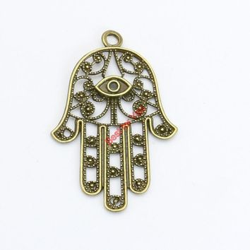 Antique Bronze Plated Evil Bl Eye Hamsa Hand Charms Pendants for Necklace Bracelets Jewelry Making DIY Craft Handmade 42x28mm