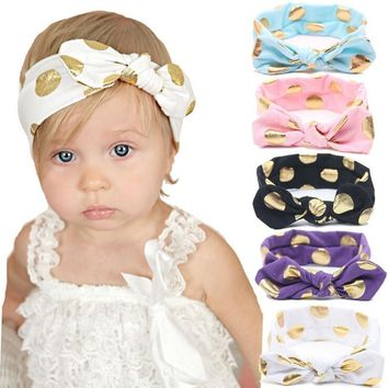 Gold Polka Dots Cotton Headband Knotted Bow Head Wraps