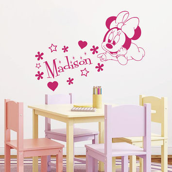 Wall Decal Name Vinyl Sticker Decals Minnie Mouse Home Decor Design Mural Disney Personalized Custom Baby Name Mice Ears Baby Decor AN685