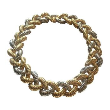 Pre-owned Vintage Valentino Gold & Silver Collar Necklace