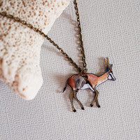 Springbok Necklace / African Antelope / Metallic Collection / Minimal  / Gold / Africa / Gazelle /  Unusual Animal