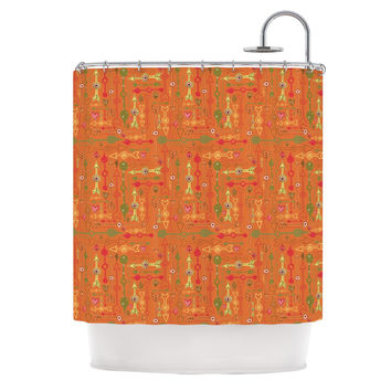 "Jane Smith ""Vintage Arrows"" Yellow Orange Shower Curtain"