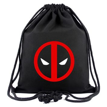Anime Backpack School Animation Hero Deadpool Drawstring Bags for Men Women Canvas Backpack Organizer Pouch Fashion Casual Drawstring Backpacks Gifts AT_60_4