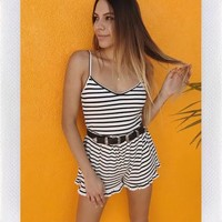 DEL REY RIBBED PLAYSUIT- STRIPE from shopoceansoul