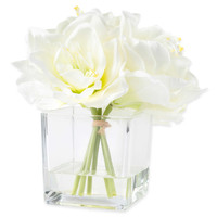 Pure Garden 8.5-Inch Lily Artificial Arrangement in Cream with Clear Glass Vase